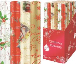 20m Gold, Red, Xmas Tree, Santa Xmas Christmas Present Wrapping Paper Rolls